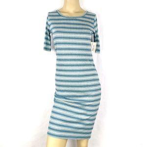 LuLaRoe Julia blue lined Pencil Dress Womens XS  T